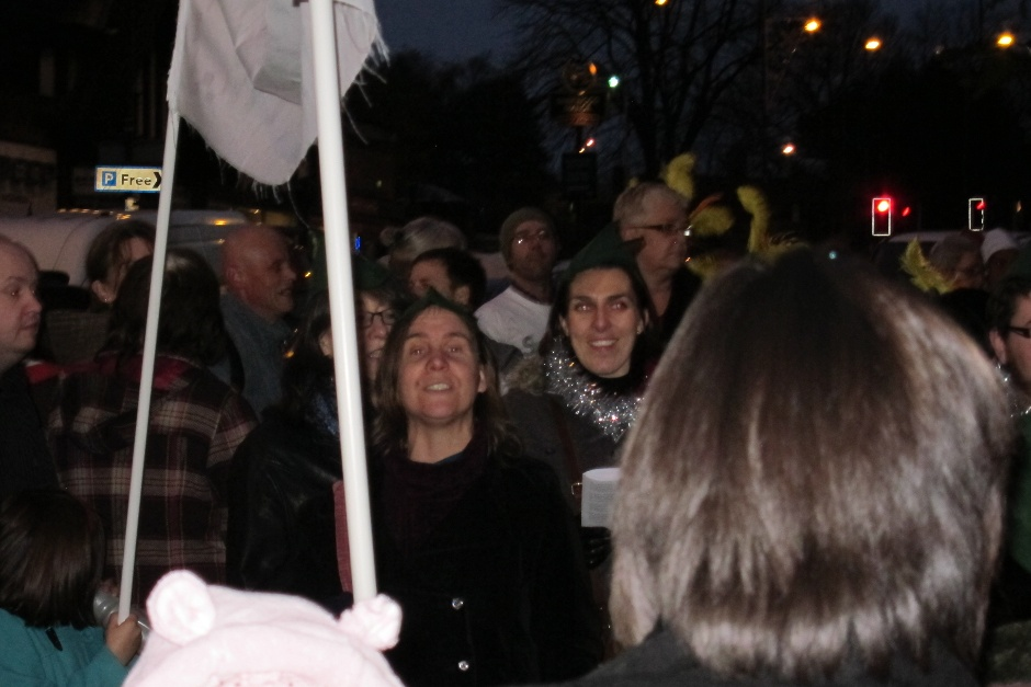 L singing at the Sherwood Christmas lights switch-on Dec 2011